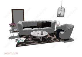 客厅整体软装00128-SketchUp草图大师模型