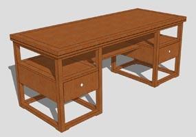 SU书桌2000X1000 SketchUp 草图大师模型